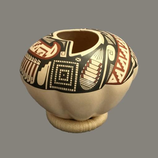 Baudel Lopez Baudel Lopez: Rare Melon Style Polychrome Etched Cutout Bowl