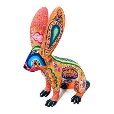 Margarita Sosa Margarita Sosa / Milagros de Copal: Medium Colorful Orange Rabbit Alebrijes
