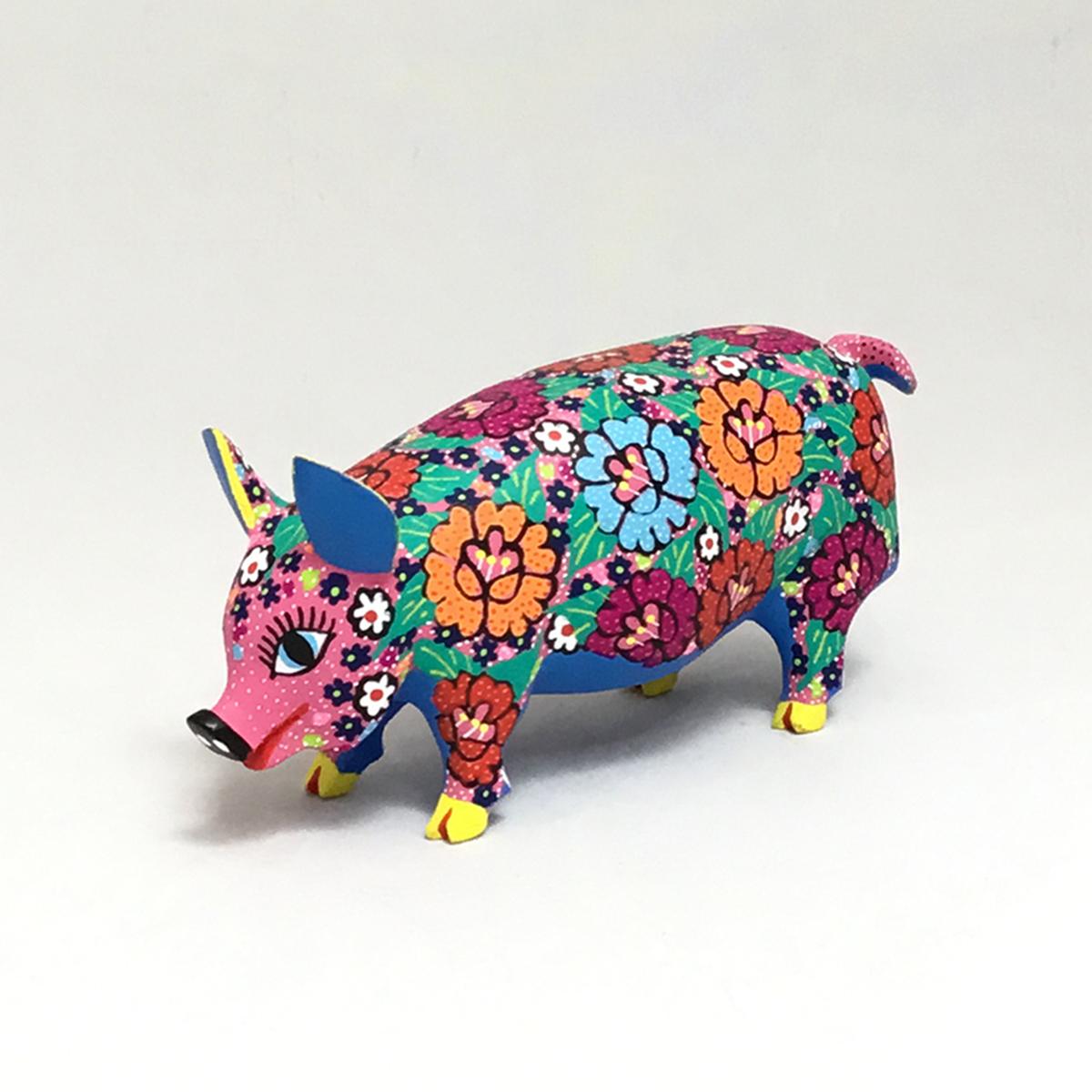 Candido Jimenez Ojeda Candido Jimenez Ojeda: Pig with Flowers Alebrijes